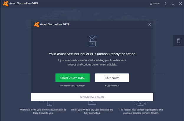 Pop-up do aplicativo Avast Free Trial