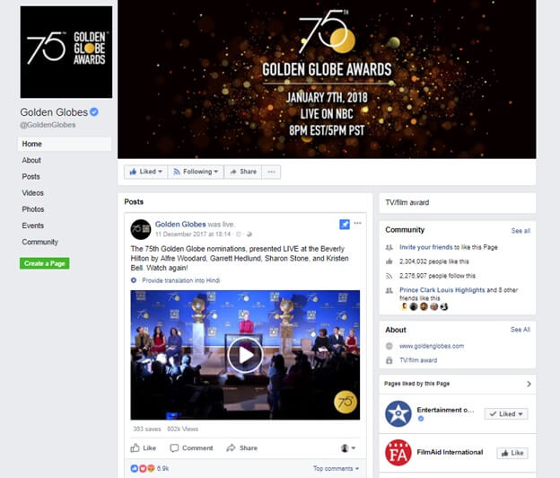 Golden Globes Awards Facebook 페이지