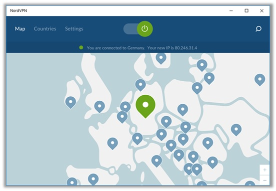 NordVPN-interface